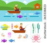 flat style underwater life with ... | Shutterstock . vector #365338823