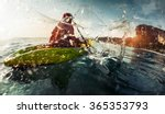 lady paddling the sea kayak... | Shutterstock . vector #365353793