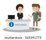 backpack traveler boy talking...   Shutterstock .eps vector #365391773