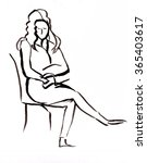 instant sketch  woman sitting... | Shutterstock . vector #365403617