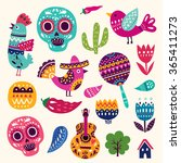 vector set of colorful cartoon... | Shutterstock .eps vector #365411273