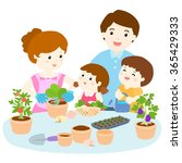 family  planting  healthy... | Shutterstock .eps vector #365429333
