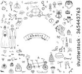 hand drawn doodle wedding... | Shutterstock .eps vector #365443763