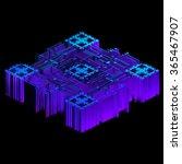 3d render of blue geometric...