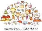 family life and household set   Shutterstock .eps vector #365475677