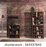Brick Wall Home Bookshelf With...