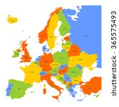 colorful map of europe | Shutterstock .eps vector #365575493