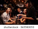 waitress takes payment for... | Shutterstock . vector #365583053