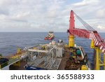 deck view of construction barge ... | Shutterstock . vector #365588933