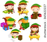 elf at santa's workshop | Shutterstock .eps vector #365622227