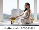happy pregnant young woman... | Shutterstock . vector #365640467