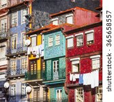 colorful buildings of porto.... | Shutterstock . vector #365658557