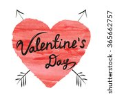 valentines day lettering on... | Shutterstock .eps vector #365662757