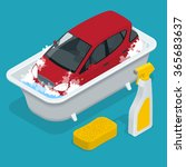 car wash service. flat 3d... | Shutterstock .eps vector #365683637