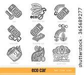 set of eco car outline web icons