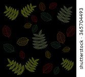 colored leaves on a black... | Shutterstock .eps vector #365704493