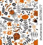 seamless plants hand drawn... | Shutterstock .eps vector #365708177