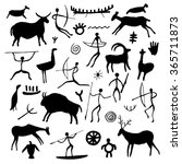 hand drawn rock drawings. black ... | Shutterstock .eps vector #365711873