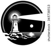 lighthouse on the rocks shining ... | Shutterstock .eps vector #365738513