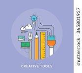 circle color line flat design... | Shutterstock .eps vector #365801927