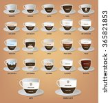 set of coffee recipes ... | Shutterstock .eps vector #365821853