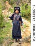 Small photo of PONGSALI, LAOS - APRIL 2014: indigenous tribal Akha Village