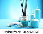 spa composition of blue candles ... | Shutterstock . vector #365864063