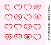 heart illustrations set  | Shutterstock .eps vector #365878427