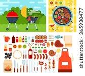 grill set vector flat... | Shutterstock .eps vector #365930477