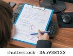teacher is correcting and... | Shutterstock . vector #365938133