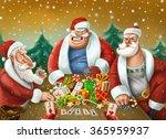 santa claus playing poker   card   Shutterstock . vector #365959937