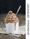 vegan chocolate ice cream in... | Shutterstock . vector #365965187