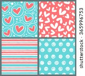 vector set of four seamless... | Shutterstock .eps vector #365996753