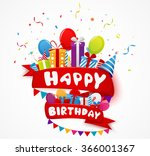 birthday celebration elements... | Shutterstock . vector #366001367