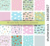 set of 16 cute baby seamless... | Shutterstock .eps vector #366018827
