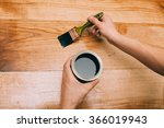 wood texture  hand and... | Shutterstock . vector #366019943