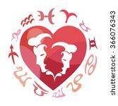 gemini zodiac sign  vector... | Shutterstock .eps vector #366076343