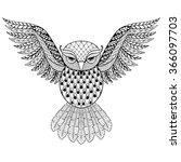 zentangle owl for adult anti... | Shutterstock . vector #366097703
