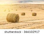 Straw Bales At Sunset