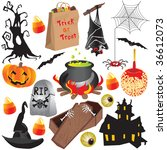 set of fun halloween icons ... | Shutterstock .eps vector #36612073