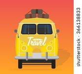 camper van. summer vacation.... | Shutterstock .eps vector #366138833