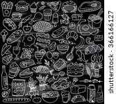 food doodles set on chalkboard | Shutterstock .eps vector #366166127