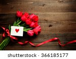Red Tulip Bouquet With Red...