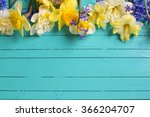 border from yellow and blue ... | Shutterstock . vector #366204707