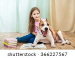little girl with staffordshire... | Shutterstock . vector #366227567