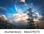 pylon and substation in the... | Shutterstock . vector #366229673