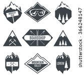 set of vector mountains emblems.... | Shutterstock .eps vector #366248147