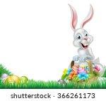 cartoon easter scene. white... | Shutterstock .eps vector #366261173