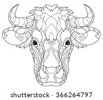 hand drawn doodle outline cow...