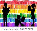 children reading the book. | Shutterstock .eps vector #366282227